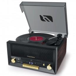 Système Chaîne Hifi CD 20W vintage avec platine Vinyle - CD/FM/USB/AUX - 33/45/78 tours