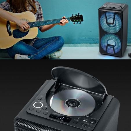 Enceinte autonome à LED Party box portable avec lecteur CD + Micro - BT/CD/AUX/USB - 150W