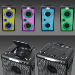 Enceinte autonome à LED Party box portable avec lecteur CD + Micro - FM/BT/CD/AUX/USB - 300W