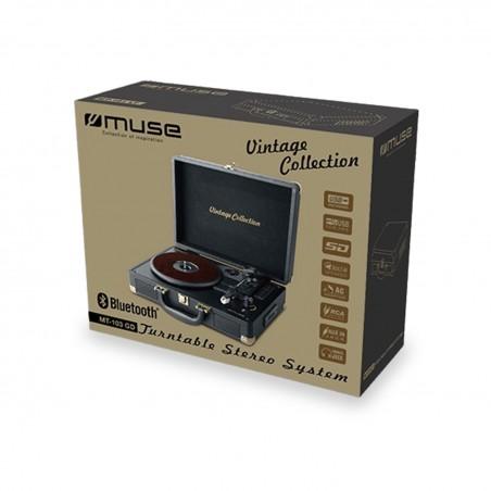 Platine vinyle stéréo vintage collection 33/45/78 tours avec enceintes intégrées - USB/SD/AUX - Prise casque