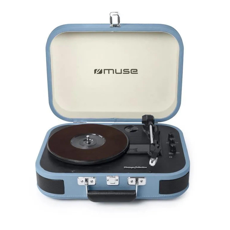 Platine vinyle stéréo bleue clair 33/45/78 tours avec enceintes intégrées - USB/SD/AUX - Prise casque