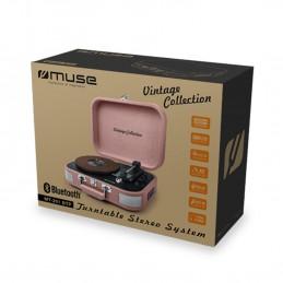 Platine vinyle stéréo saumon 33/45/78 tours avec enceintes intégrées - USB/SD/AUX - Prise casque