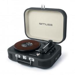 Platine vinyle stéréo Noire 33/45/78 tours avec enceintes intégrées - USB/SD/AUX - Prise casque