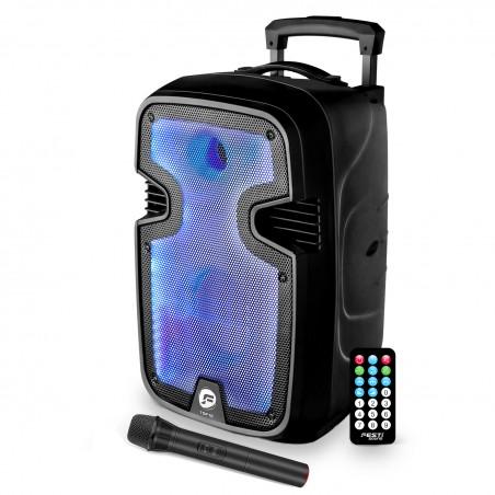 Enceinte Autonome FestiSound TSF12 sur Batterie Micro et Télécommande - LED RVB - 600 Watts-Trolley - USB/BT/AUX/SD