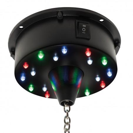 Moteur de boule à facettes LED alimenté par batterie FXLAB - 18 LED lumineuses - Léger et résistant