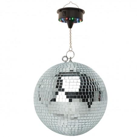 Boule à Facettes Argentée 50cm FXLab avec deux points de suspension + Moteur de boule à facettes LED à batterie FXLAB