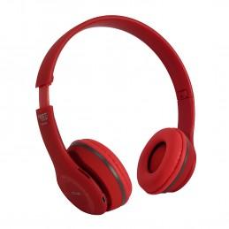 Casque sans fil - Festisound HWJ40-RED - Autonome sur batterie - Fonction Bluetooth SD - Mode main-libre - Rouge finition RUBBER