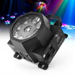 Jeu de lumière - Noir - Spot GOBO 8x3W à LED RGBW - DMX - Flash F7300231 MAGNUM