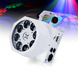 Jeu de lumière - Blanc - Spot GOBO 8x3W à LED RGBW - DMX - Flash F7300231 MAGNUM