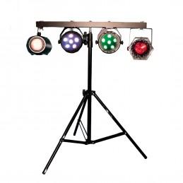 Ensemble d'éclairage et de support T-Bar DJ 4 voies FX Lab - Idéal DJ/Soirée/Animation - Contient 4 effets d'éclairage LED