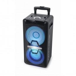 Muse Système DJ PA avec Batterie, 300 W, CD, Bluetooth et Effets Lumineux (USB, AUX, Microphone, télécommande) Noir