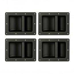 Lot de 4 poignées robustes pour enceintes, Noir, Métallique, Dimensions 220 x 160 mm