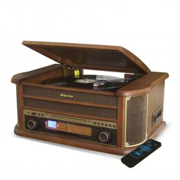 Platine Vinyle Roadstar HIF-1993BT 33-45-78 Trs, 2 Enceintes 32W PMPO, CD, CASSETTE, USB, Bluetooth, FM AM RADIO, FInition BOIS